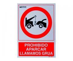 ADHESIVO LLAMAMOS GRUA 30X21cm GARAJE ENTRADA LOCAL