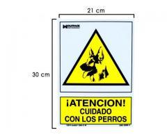 Cartel Cuidado con Los Perros 30X21cm INDICACION RECINTOS