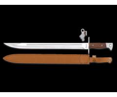 Bayoneta Acero Inox Pulido (Hoja Sable) 39.5/51cm c/Funda Piel